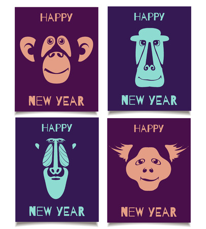 marmoset: Vector template set with monkey smiling faces. Happy New Year patterns for placards, brochures, posters, greeting cards, flyers. Illustration