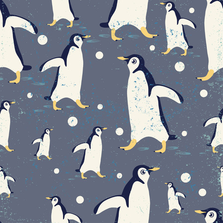 Vector template with penguin. Textured seamless  pattern for placards, brochures, posters, greeting cards, flyers postcards.