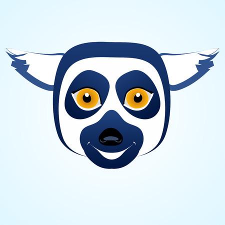 lemur: cartoon icon lemur head. Blue colored