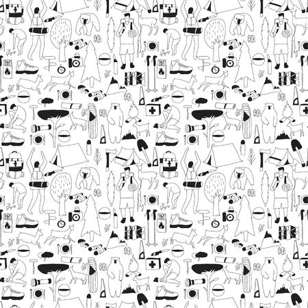ax man: Vector hand drawn cartoon seamless camping pattern. Picnic, travel and camping theme. Black and white camping pattern.