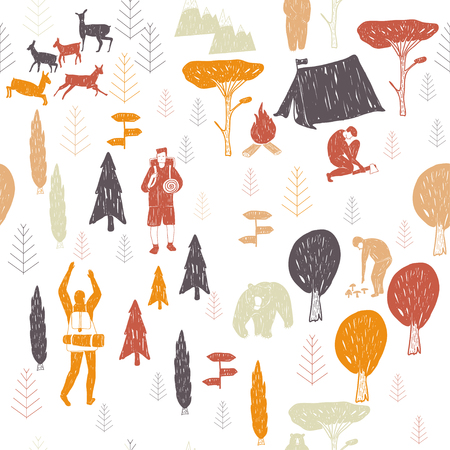 textil: Vector hand drawn cartoon seamless camping pattern. Picnic, travel and camping theme. Retro colored camping pattern. Textil, paper, polygraphy, game, web design