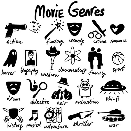 Vector doodle icons set. Cinema genres theme. Red and Blue