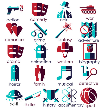 historical romance: Vector flat icons set. Cinema genres theme. Red and Blue