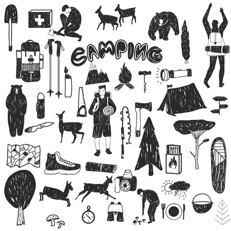 textil: Vector hand drawn cartoon seamless camping icons. Picnic, travel and camping theme. Black and white camping icons. Textil, paper, polygraphy, game, web design