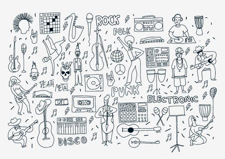 genre: Vector hand drawn cartoon icons. Music genres theme. Line black and white doodle icons. Music illustration for textil, paper, polygraphy, game, web design