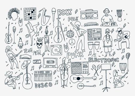Vector hand getekende cartoon iconen. Muziekgenres thema. Line zwart en wit doodle pictogrammen. Muziek illustratie voor textiel, papier, polygraphy, spel, webdesign