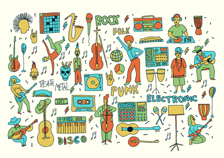 textil: Vector hand drawn cartoon icons. Music genres theme. Line colored doodle icons. Music illustration for textil, paper, polygraphy, game, web design Illustration