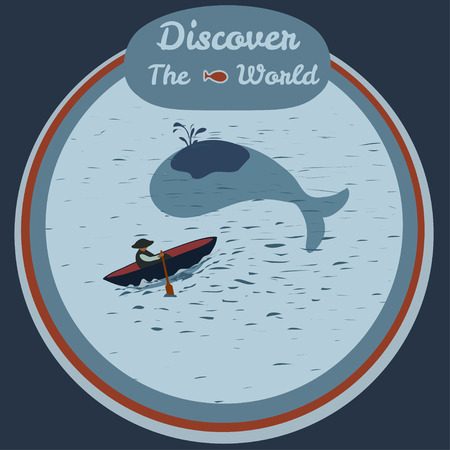 whaling: Vector illustration of sailor and whale. Discover the world. Sea illustration for posters, greeting cards, book cover, flyers, banner, web, game designs.