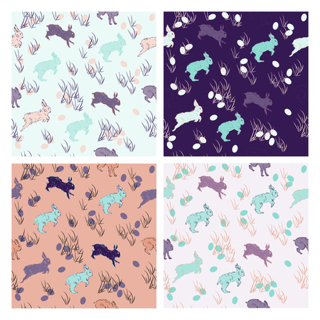 lewis: Vector set of seamless patterns with rabbits. Hand drawn. Retro colored rabbit pattern for textil, paper, polygraphy, game, web design Illustration