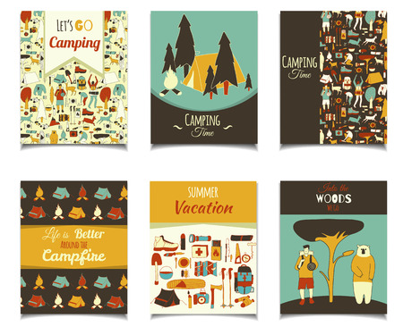 colection: Vector card template set with cartoon camping objects. Retro color template colection for posters, greeting cards, flyers, brochure, web designs. Picnic, travel and camping theme.