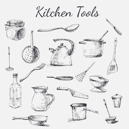polygraphy: Vector hand drawn kitchen tools. Black and white vintage kitchen tools made with ink for your paper, polygraphy, fabric, web design