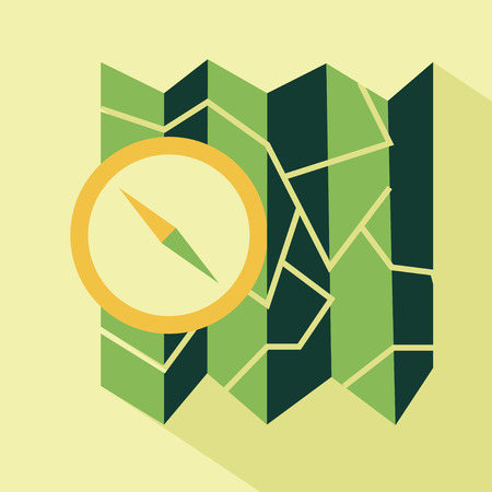 polygraphy: Vector flat map and compass icon. Isolated with long shadow. Flat green icon for polygraphy, web design, app, UI. Illustration
