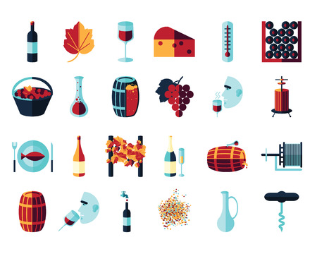 crushing: Vector colored flat icon set. Winemaking theme: barrel, bottle, wineglass, wine, vineyard, degustetion, crushing, pressing, bottling . Flat color wine icons for polygraphy, web design, app, UI.