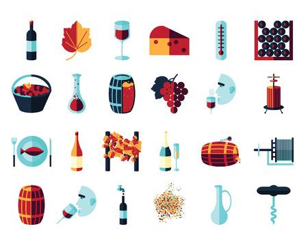 Vector colored flat icon set. Winemaking theme: barrel, bottle, wineglass, wine, vineyard, degustetion, crushing, pressing, bottling . Flat color wine icons for polygraphy, web design, app, UI.