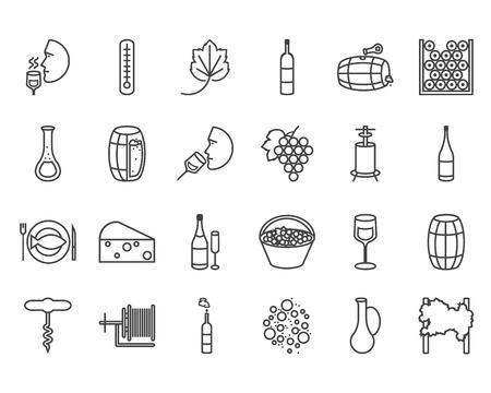 ベクトル線フラット アイコン セット。ワイン テーマ: バレル、ボトル、ワイングラス、ワイン、ブドウ畑、粉砕、degustetion を押すと、瓶詰め。ポリ