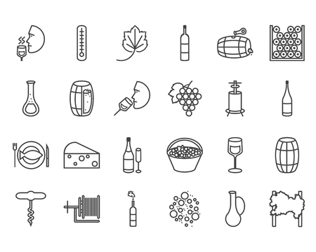 crushing: Vector line flat icon set. Winemaking theme: barrel, bottle, wineglass, wine, vineyard, degustetion, crushing, pressing, bottling . Flat line wine icons for polygraphy, web design, app, UI.