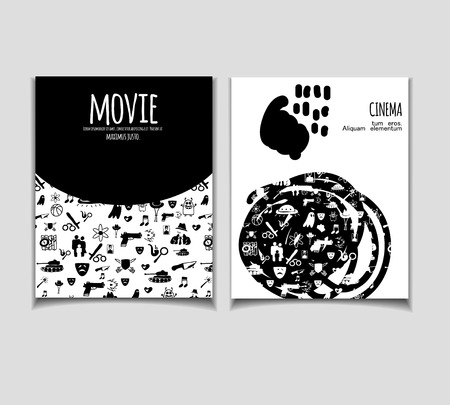 Cinema vector template set. Movie genre theme: action, romance, comedy, drama, detective, horror, fantasy. Black and white illustration for posters, greeting cards, flyers and banners, web designs. Illustration
