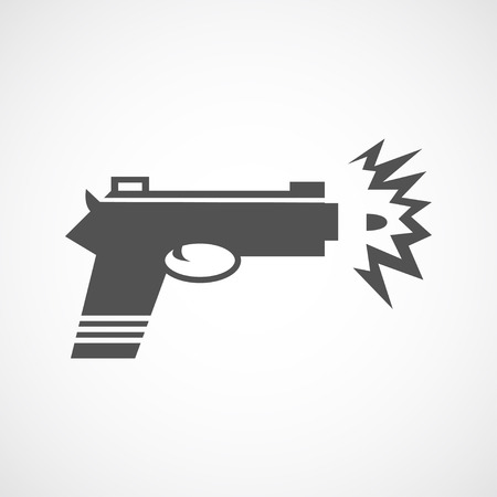 gun shot: Vector flat gun shot icon. Isolated black gun icon, web site design, app, UI. Flat weapon illustration for posters, cards, book cover, flyers, banner, web, game designs.