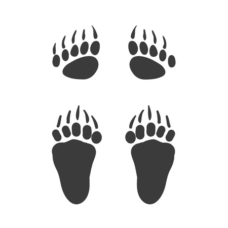 Vector cartoon bear footprint. Bear steps. Isolated black icon, web site design, app, UI. Animal steps for posters, greeting cards, book cover, flyers, banner, web, game designs.