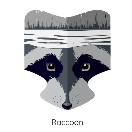 footmark: Vector cartoon raccoon head. Forest Fighter. Raccoon icon, web site design, app, UI. Animal illustration for posters, greeting cards, book cover, flyers, banner, web, game designs.