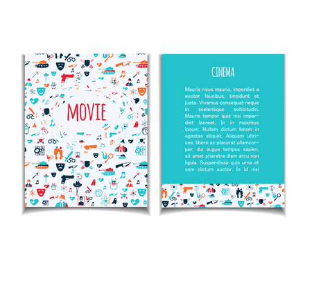 genre: Cinema vector template set. Movie genre theme: action, romance, comedy, drama, detective, horror, fantasy. Colored illustration for posters, greeting cards, flyers and banners, web designs.