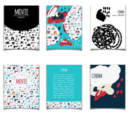 Cinema vector template set. Movie genre theme: action, romance, comedy, drama, detective, horror, fantasy. Colored illustration for posters, greeting cards, flyers and banners, web designs.