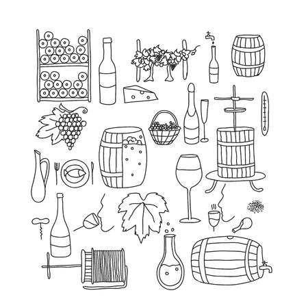 winemaking: Vector line doodle icon set. Winemaking theme