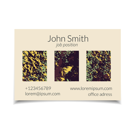 soil texture: Vector business card set with abstract textured design. Soil texture. Isolated.