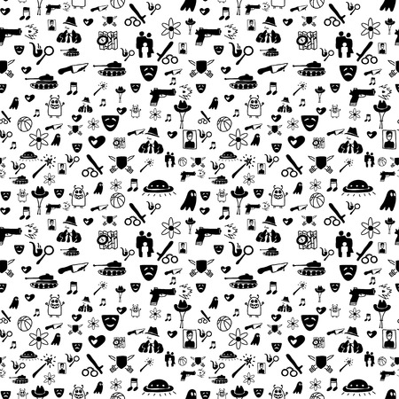 Vector hand drawn cartoon seamless pattern with cinema genres. Movie genres theme: action, romance, fantasy, sci-fi, comedy, drama. Black and white pattern for paper, textile, game, web design