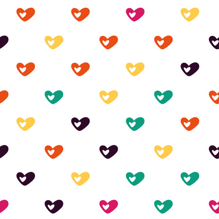polygraphy: Vector hand drawn cartoon seamless pattern with hearts. Love, romance theme. Colored love pattern for paper, textile, polygraphy, game, web design Illustration