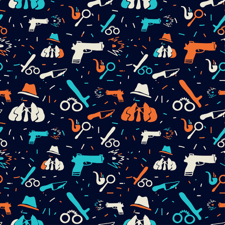 noir: Vector hand drawn seamless pattern with detective, gun, handcruffs. Crime, detective, noir, police theme. Colored detective pattern for textile, paper, book, game, cards, banner, web design. Illustration