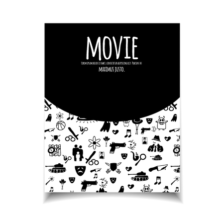 genre: Cinema vector template set. Movie genre theme: action, romance, comedy, drama, detective, horror, fantasy. Black and white illustration for posters, greeting cards, flyers and banners, web designs. Illustration