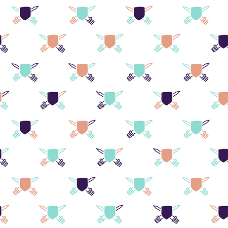 polygraphy: Vector hand drawn cartoon seamless pattern with shields and swords. History, heraldic theme. Colored shield pattern for paper, textile, polygraphy, game, web design Illustration