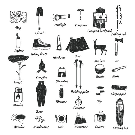 sleeping pad: Vector hand drawn cartoon seamless camping icons. Picnic, travel and camping theme. Black and white camping icons. Textile, paper, polygraphy, game, web design Illustration
