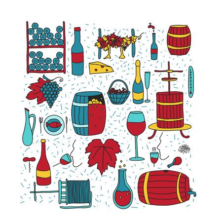 colored doodle icon set Illustration
