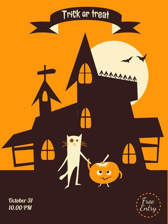 intertainment: Dracula castle, cat and pumplin illustration for party invitation, greeting card, web design Illustration