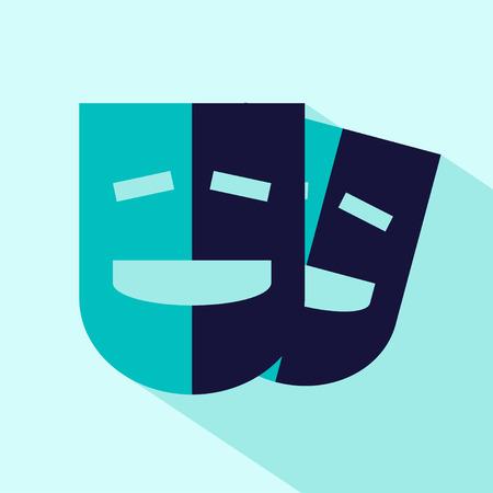 comedy mask: flat stylize comedy mask icon Illustration