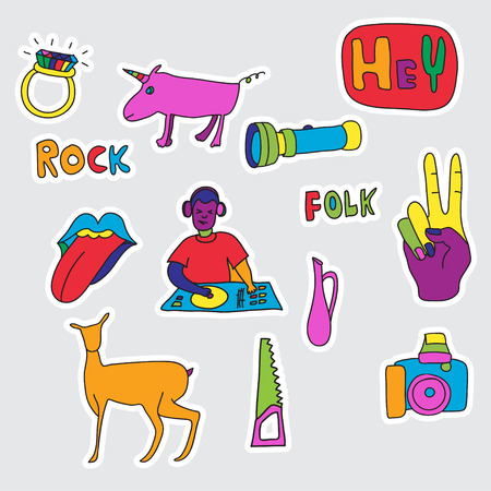 Set of patches and stickers hand drawn fashion cute comic illustration pop