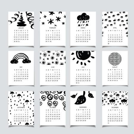 rainbow umbrella: 2017 monthly calendar with hand drawn decor: snow, rainbow, umbrella, leaf, rain, cloud, sun.