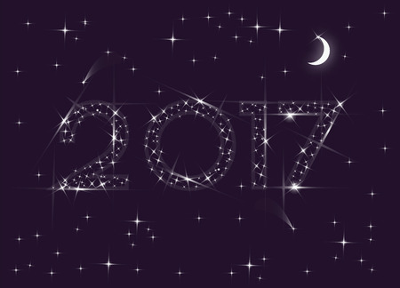 sheeny: Happy New Year greeting card. 2017 numbers in the night sky made of stars.