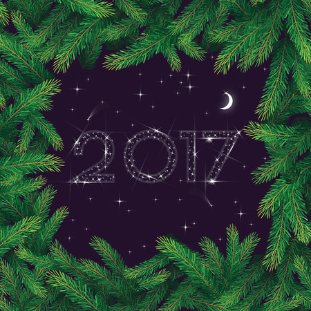 sheeny: Happy New Year greeting card. 2017 numbers in the night sky made of stars in pine branch frame.