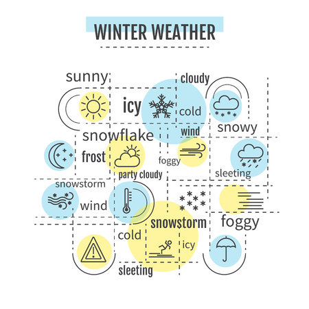sleet: Vector infographic about winter weather with line icons.