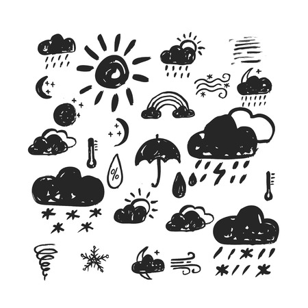 Vector weather icons set. Hand drawn style. Made with ink.