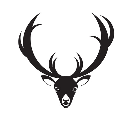 Vector flat deer head icon. Isolated on white background.