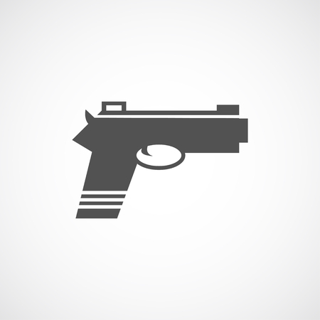 tools icon: Vector flat gun icon. Isolated black gun icon for logo, web site design, app, UI. Flat weapon illustration for posters, cards, book cover, flyers, banner, web, game designs.