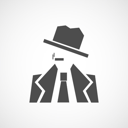 noir: Vector flat detective icon. Isolated black icon for logo, web site design, app, UI. Flat noir illustration for posters, cards, book cover, flyers, banner, web, game designs.