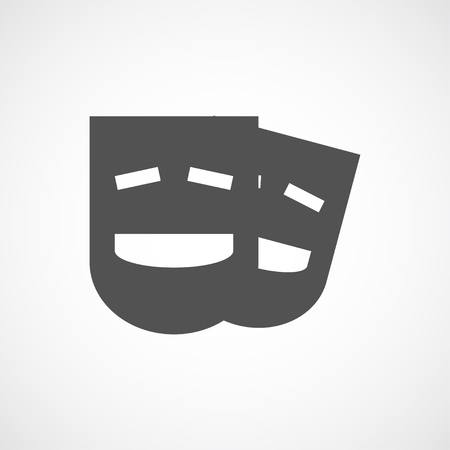 comedy mask: Vector flat stylize comedy mask icon. Isolated black icon for logo, web site design, button, app, UI. Comedy mask illustration for posters, cards, book cover, flyers, banner, web, game designs.