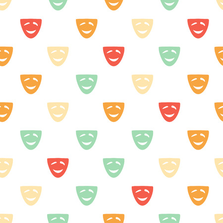 comedy mask: Vector hand drawn cartoon seamless pattern with comedy mask. Cinema, theater theme. Colored comedy pattern for paper, textile, polygraphy, game, web design