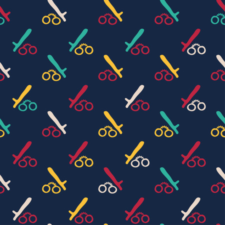 noir: Vector hand drawn cartoon seamless pattern with handcuffs and police baton. Crime, detective, noir, police theme. Colored crime pattern for paper, textile, polygraphy, game, web design