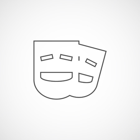 comedy mask: Vector flat stylize comedy mask icon. Isolated line icon for logo, web site design, button, app, UI. Line comedy mask illustration for posters, cards, book cover, flyers, banner, web, game designs. Illustration